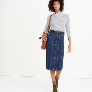 Madewell Denim Seamed Button-Front Skirt